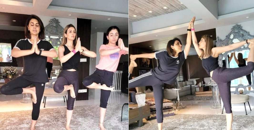 Photo of 62-year-old Neetu Kapoor did yoga with Riddhima and Samara, beat her daughter in fitness!
