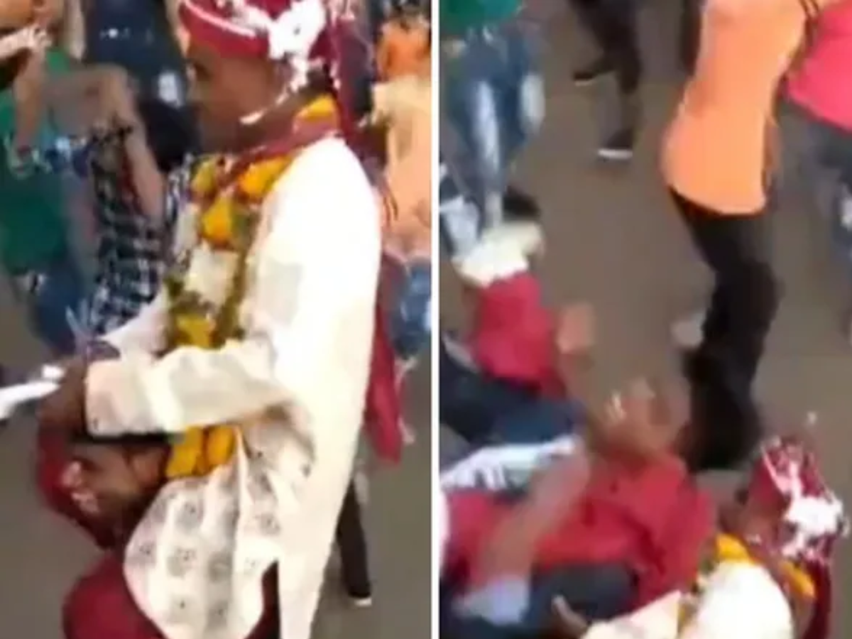 Photo of Dance on a friend's shoulder;  During the wedding ceremony, the groom was hit in the middle and fell to the ground;  Video