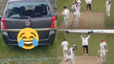 Photo of His own car crashed when he hit a huge six, and the batter put his hand on his head.