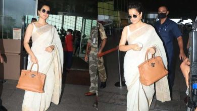 Photo of Kangana Ranaut was seen at the airport with a bag worth Rs 15 lakh, looked beautiful in a white sari
