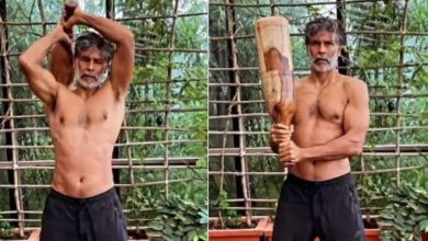 Photo of Milind Soma did a desi workout by lifting 10 kg Magdal