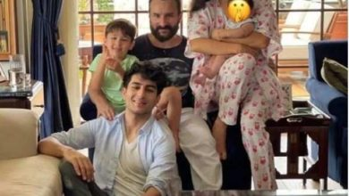 Photo of Saif Ali Khan celebrated Eid with his four children, was seen in sister Sara's lap