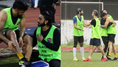 Photo of Dhoni-Ranveer's 'bromance' seen on the football field, the actor sitting at Mahi's feet after the game was over