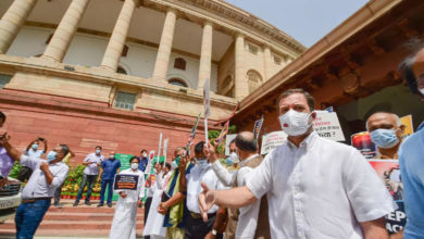 Photo of 'Assassinated democracy';  Opposition against the Center;  Protest in Delhi