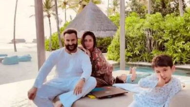 Photo of Saif, Kareena and sons are seen in a relaxed mood as they are enjoying family time in Maldives on their birthday.
