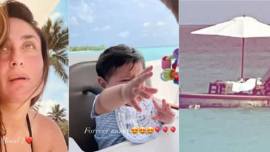 Photo of Kareena, who is spending time on the beach with younger son Jahangir, Saif reached the middle of the sea with Taimur